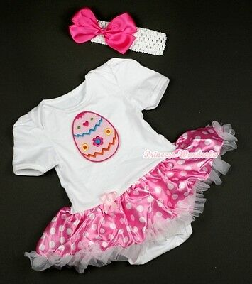 Easter Rhinestone Egg Pink Bodysuit Jumpsuit Rainbow Wave Girl Baby Dress NB-12M