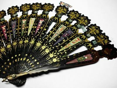 antiker asiatischer Lackmalerei Fächer / antique asian lacquer painting fan