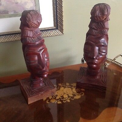 Pair OF Wood SCULPTURE AFRICAN Head Hand Carved Vintage Tribal Statue