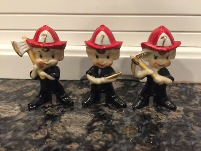 Elf or Pixie Fireman / Firefighter Trio of Figurines, Vintage Japan 1950s