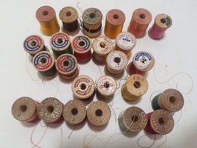 VINTAGE LOT 25 WOODEN SILK And Cotton THREAD SPOOLS ASSORTED COLORS, MAKERS