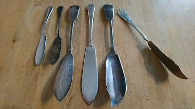 Lot Of 5 Silver Plated Epns Fish Slices + A Rare Twist Handled Brazil Silver