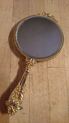 A Stunning Small Vintage Ladies Gold TONE Hand Mirror - Makeup / Handbag Mirror