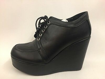 Brand New Boxed Ladies Black Lace Up Wedge Heel Ankle Boots Goth Look UK 6