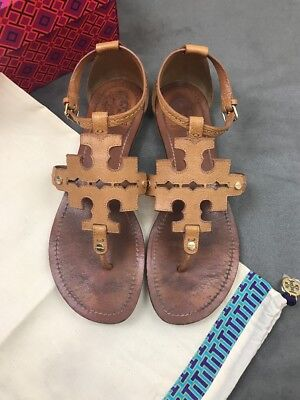 a458cde56f2 TORY BURCH Phoebe Chandler Flat Thong Sandals Royal Tan Sz 8.5 Miller  B18