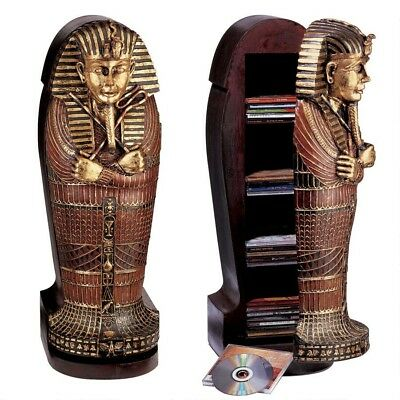 Ancient Egyptian King Tutankhamen Sarcophagus Hand Painted Exquisite CD Cabinet