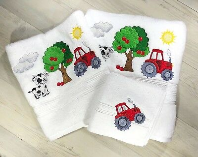 Personalised Baby Kids Towel Newborn Gift Farm Tractor White