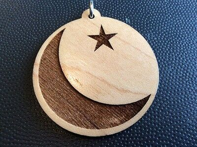 Necklace Moon And Star carved wood Round pendant Sufism Pagan #Mystical #Gift