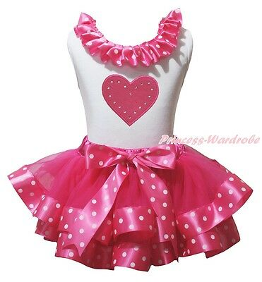 Valentine Heart White Cotton Top Hot Pink Dot Satin Trim Girl Skirt Outfit NB-8Y