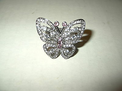 Vintage Large Silvertone Sparkly Clear & Pink Rhinestone Butterfly Ring - Size 7
