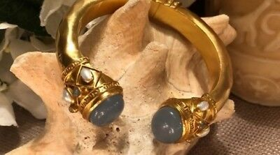 Designer Julie Vos GREEK kEY Cuff in Blue Chalcedony 24k Gold $345.00
