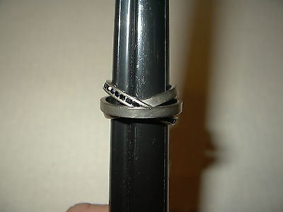 Vintage Ladies 3 In 1 Silvertone & Black Crystal Band Ring - Size 7 1/2