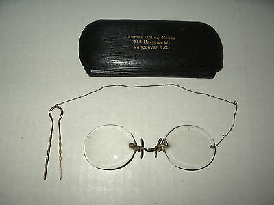 Vintage Victorian Antique Frameless Eyeglasses With Chain & Case
