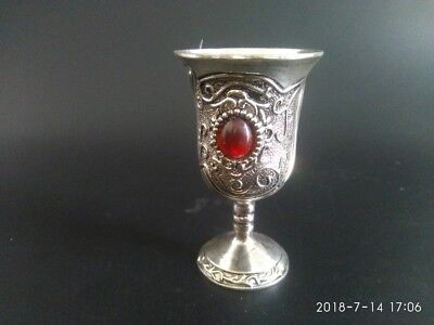 Chinese Collectable Tibet Silver Decorated Handwork Inlay Jade Wine Cup NR01