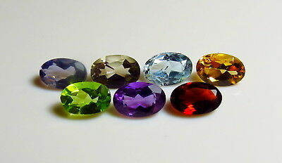 7pc 6x4mm LOOSE FACETED GEMS SET - IOLITE GARNET PERIDOT AMETHYST rough natural