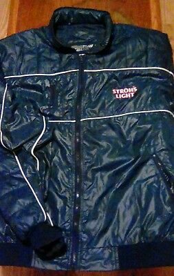 vintage STROH'S LIGHT beer puffer style 80's jacket coat size XL advertising