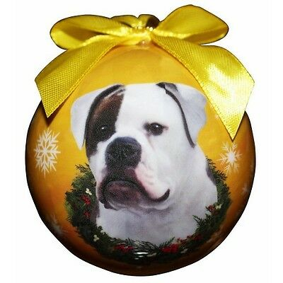 American Bulldog Shatterproof Ball Dog Christmas Ornament