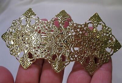 Vtg New Gold Lightweight Ornate Metal Hair Barrette French Clip 1980's Nos Retro