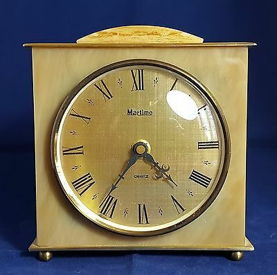 Beautiful Vintage German Brass and Marble Mantel Clock by Martime