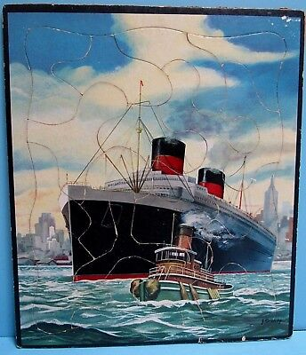 Vintage 1940's Ocean Liner In New York Harbor Inlaid Tray Picture Puzzle - Vg