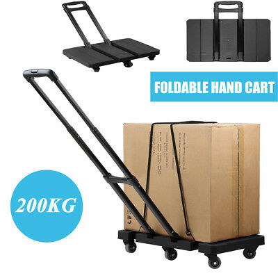 Folding 440LB Hand Truck Dolly Collapsible 6 Wheels Cart Luggage Trolley Tool BU