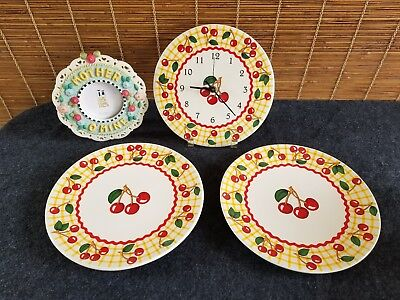 """MARY ENGELBREIT """"MOTHER-O-MINE"""" PICTURE  FRAME Cherries Dinner Plates and Clock"""