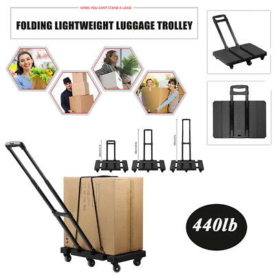 440LB Foldable Handle Truck Dolly Collapsible 6 Wheels Cart Luggage Trolley HM