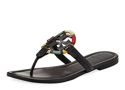 896b46afb655ff NIB TORY BURCH  228 BLACK EMBROIDERED MILLER THONG FLIP FLOP SANDAL Sz 5.5