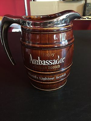 Vintage Ambassador Scotch Glass Small Pitcher Barrel Themed Silver Accent GUC