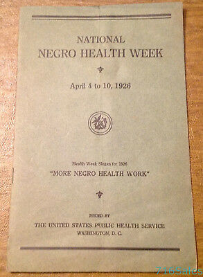 Rare 1926 National Negro Health Week 24pp Booklet by US Public Health Service