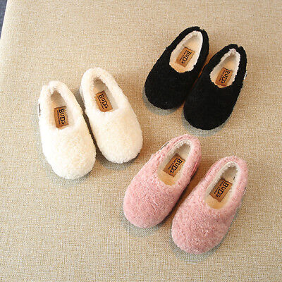 Toddler Infant Kids Girl Winter Soft Warm Fluffy Flock Single Botton Shoes