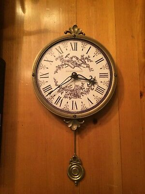"""Timeworks Toile 8"""" wall clock With Pendulum"""