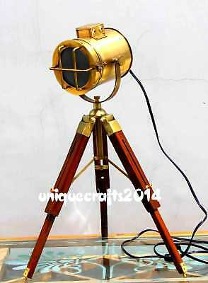 Brass Small Floor Studio Lamp Spot Search Light With Tripod Stand Vintage Decor.