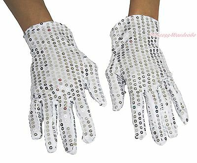 White Sparkle Bling Sequin Wrist Adult Women Gloves Party Dance Event Costume