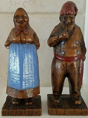 Vintage 1940's Syroco Wood Figures Old Man & Old Woman