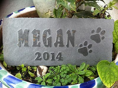 Pet memorial hand carved personalised slate, garden plaque dog, cat, urn