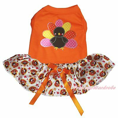 Thanksgiving Orange Cotton Top Rainbow Turkey Tutu Skirt Pet Dog Puppy Cat Dress