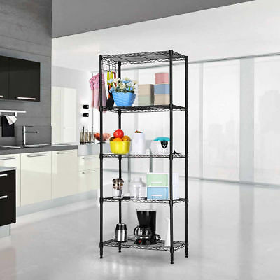 5 Tier Layer Wall Standing Shelving Shelves Rack Storage Organizer Space Save