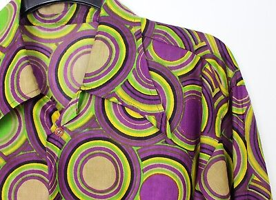 Vintage Mens 60s 70s Style Crazy Prince Psychedelic Festival Retro Shirt M to L