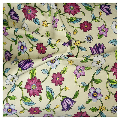 Floral Fabric 100% Cotton Material Metre Sateen Vintage Flowers Craft Quilting