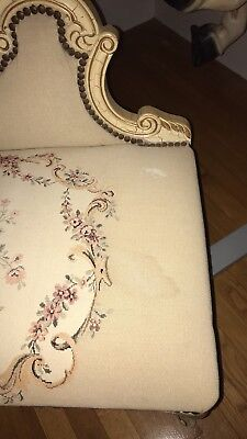 Beautiful floralAntique Settee with off white and gold frame