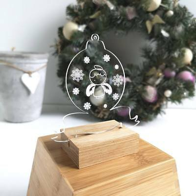 Personalised Printed Acrylic Cute Angel Clear Christmas Tree Bauble