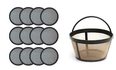 Replacement Mr. Coffee Charcoal Coffee Water Disks (12) + Basket Coffee Filter