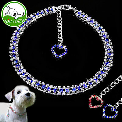 Dog Collar Jeweled Necklace Pet Cat Puppy Chain Leash Metal Training Retractable