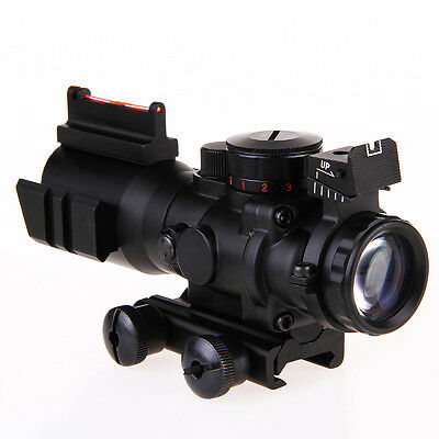 Scope Fiber Illuminated 4x32 Rifle Optic Sight Red Tactical Tri Acog Prismatic