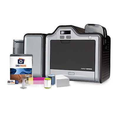 Fargo HDP5000 Dual Side ID Card Printer & Supplies Package (100-Day Warranty)