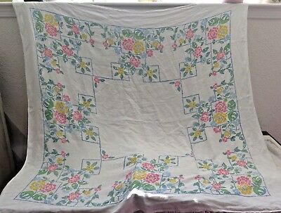 American Vintage c1928 Hand Blocked Linen Tablecloth~Deco Asian Floral Motif