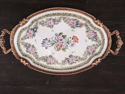 Amazing hand painted large antique Limoges tray in gilded bronze