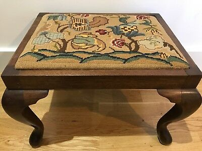 Antique Edwardian Queen Anne Style Oak & Tapestry Foot Stool