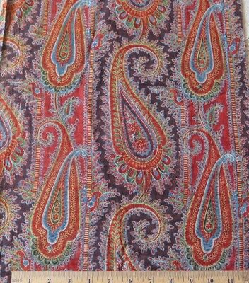"Antique 1850-1860 Hand Blocked French Turkey Red Cotton Paisley Fabric~41"" X 14"""